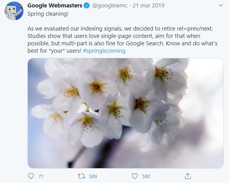 Tweet z Google o paginacji