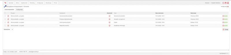 Widok listy komponentów w plug-inie zarządzania modułem