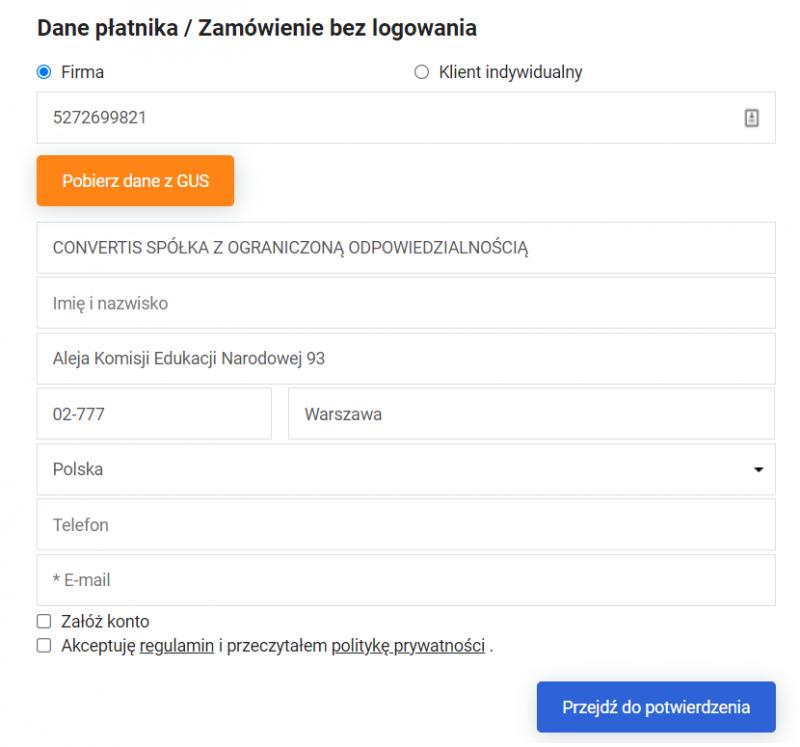 Widok formularza z możliwością pobierania danych z poziomu koszyka zakupowego