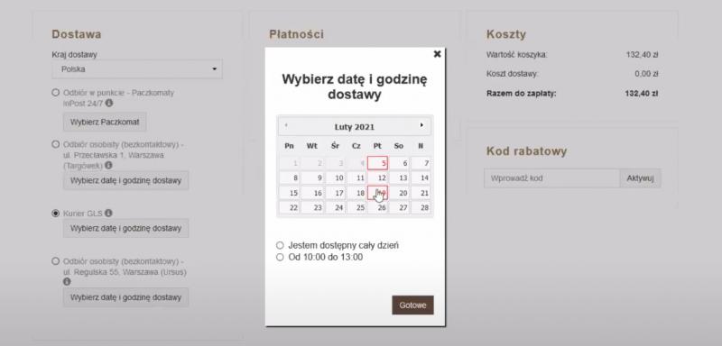 Widok kalendarza dostaw z poziomu koszyka klienta.