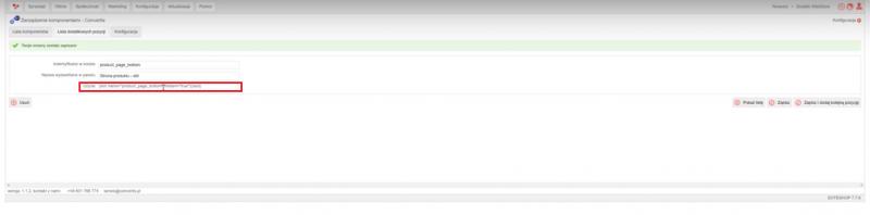 Fragment kodu, który należy wkleić do szablonu, aby w danym miejscu na stronie powstał slot, do którego można podłączyć komponent